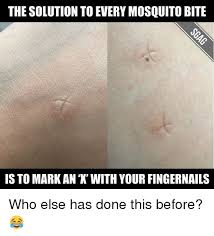 Mosquito Meme - the solution to every mosquito bite is to mark an with your