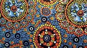 wild desert flowers blue aboriginal fabrics