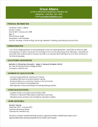 Resume Templates For Teachers Free Sample Resume Format For Fresh Graduates Two Page Format