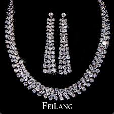 white gold necklace set images 2018 wholesale hot sale clear crystal earrings and necklace set jpg