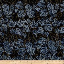 island batik leaves black denim discount designer fabric