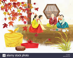 illustration representing korean thanksgiving day with family in