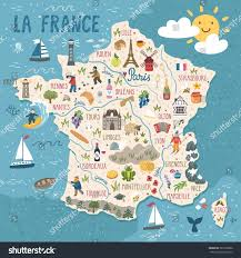 Marseilles France Map by Vector Stylized Map France Travel Illustration Stock Vector
