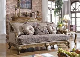 meridian furniture palmas traditional pewter fabric sofa french