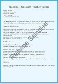 Resume For Montessori Teacher Grabbing Your Chance With An Excellent Assistant Teacher Resume
