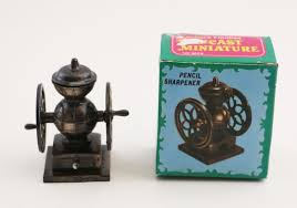 Antique Electric Coffee Grinder Airplane Dual Wing Die Cast Antique Finish Miniature Pencil