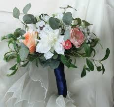 unstructured bouquet peach cream white bouquet bridal