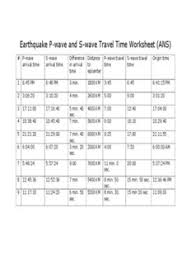 earthquake p wave and s wave travel time worksheet ans pdf drive