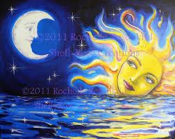 solar goddess and moon print 8 x 10 inch celestial theme sun and