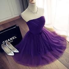 violet dress violet bridesmaid dress lavender knee length strapless pleat