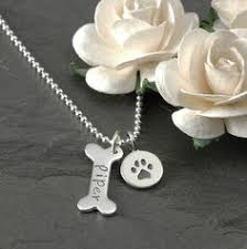 Personalized Paw Print Necklace Pet Memorial Necklace Personalized Pet Dog Loss Sympathy Dog Bone