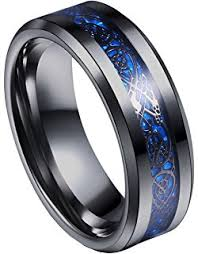 mens blue wedding bands 8mm mens titanium ring wedding band black plated with black and