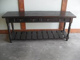 sofa tables custom made from reclaimed wood drawers and block leg design