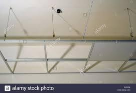 suspended ceiling structure installation gypsum stock photos