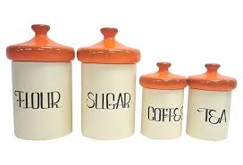 kitchen canister set ceramic orange ceramic kitchen canister set beckon gallery
