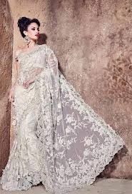 bridal designer get white worked ner bridal designer saree with blouse at best