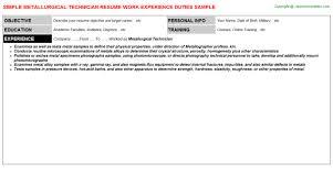 metallurgical technician resume sample