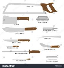 set butcher tools bone saw cleaver stock vector 379355485
