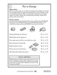 1st grade 2nd grade kindergarten science worksheets for a