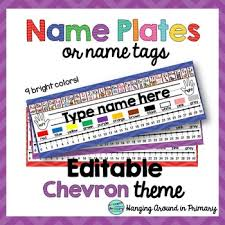 student name tags for desks editable name tags name plates chevron pre and