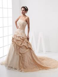 Champagne Wedding Dresses Chapel Train Champagne Wedding Dress For Bride With Beading