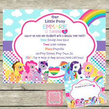 my little pony invite and thank you cards personalized diy