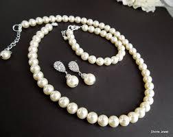 necklace pearl set images Bridal pearl necklace set ivory swarovski pearls bridal classic jpg