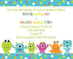 cute little monster birthday invitation printable free