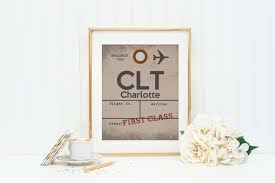 charlotte airport sign travel decor aviation art baggage