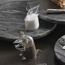 glass mouse salt and pepper shakers by roost seven colonial