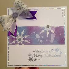 christmas card ink shaded with water splatter snowflake stamp