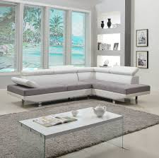 Faux Leather Living Room Set 2 Piece Modern Contemporary White Faux Leather Sectional Sofa