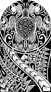 traditional maori tattoo design with turtle stock vector art