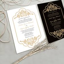 Black And White Invitation Card Timeless And Elegant Wedding Invitation Suite White And Gold