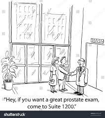 business cartoon on prostate exam marketing stock illustration