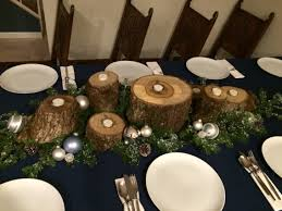 christmas centerpiece mossy logs tea light candles tree