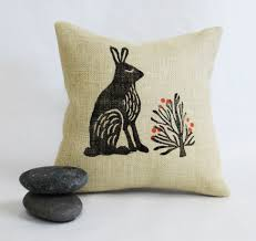 Easter Home Decorating Ideas by Bunny Rabbit Throw Pillow 12inch Square Burlap Front Desert Bush
