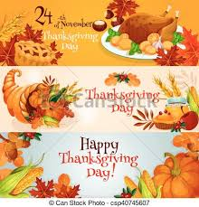 vector clipart of thanksgiving day banners with traditional