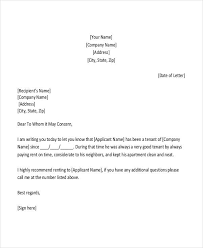 tenant recommendation letter recommendation letter format free