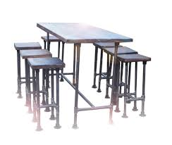 Retro Bar Table High Industrial Gas Pipe Pole Modern Chic Retro Bar Kitchen Table