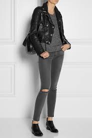 black leather biker jacket burberry brit cropped leather biker jacket in black lyst