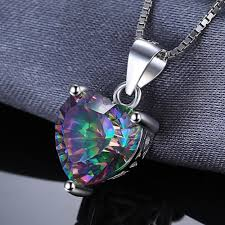 solid sterling silver necklace images 4 35ct rainbow fire mystic topaz heart pendant solid 925 sterling jpg