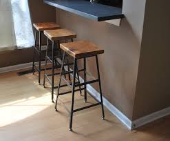Modern Wood Bar Stool Furniture Bronze Iron Bar Stools Counter Height With Padded Seat