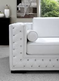 White Leather Tufted Sofa by Dublin Luxurious White Leather Sofa Set With Crystals