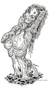 Zombie Pin Up Girl Emerges From Stony Ground Pin Up Coloring Pages