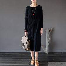 autumn black striped cotton sweater dresses casual slim long