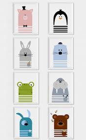 Art Kids Room Fun And Modern Animals Wall Art To Decorate A Nursery Or Kids Room