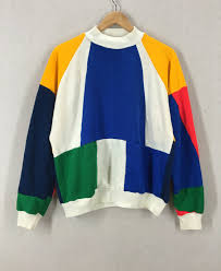 super colorful vintage 80 u0027s super colorful colorblock sweatshirt size m l by