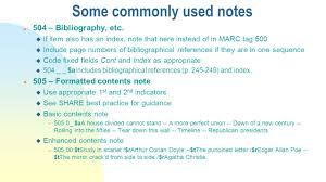 notes marc tag 5xx definition general or specialized information