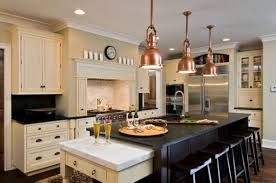 pendant lighting for kitchen island ideas copper pendant lights above the kitchen island for a touch of
